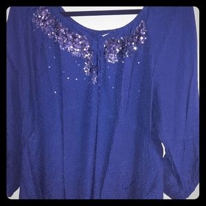 Women's navy peasant style blouse!